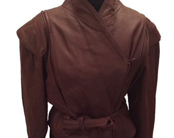 Chocolate Brown Tie waist Leather Jacket