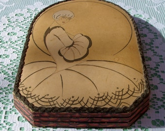1930s French Hand Painted Pretty Art Deco Girl on Bonbon or Chocolate Box from J. Peyri Confiseur of Bordeaux