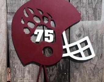 Metal Football Helmet Yard Decor