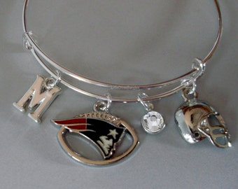 NFL Patriots CHARM / Helmet  Bangle W/ Birthstone / Initial Football Charm Bangle / Bracelet - Patriots Bracelet - Gift For Her  Usa  Sp1