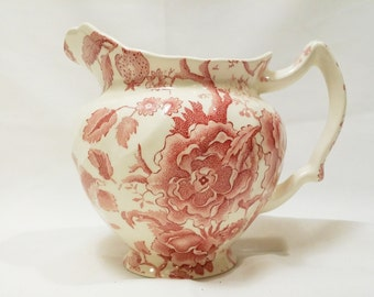 One Antique English Chippendale Johnson Bros Brothers Pink Red 24 oz Pitcher
