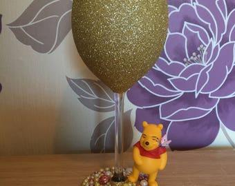 Large Winnie pooh glitter wine glass