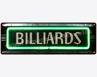Billiards Neon Look Vintage Reproduction Metal Sign 6x18 6180397