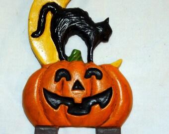 Halloween Black Cat Door Knocker Top Topper Midwest of Cannon Falls 1990