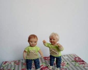 Ooak Baby Zwillinge Puppenstube 1/12 Dollhouse twins
