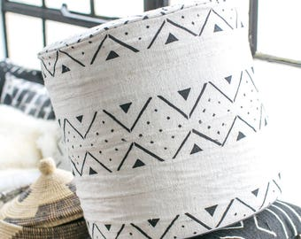 African Mudcloth Geometric Tribal Hand Printed Woven Black & White Lightweight Ottoman Seat Side Table