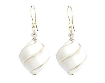 Murano Hand Blown Glass Earrings by Mystery of Venice 'Summer White', Murano Glass Earrings, Handblown Glass Earrings, White Earrings,