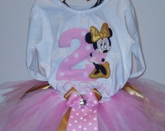 Pink and Gold Minnie Mouse 2nd Birthday Outfit Onesie Tutu FREE Hair Bow Baby Girl Little Toddler
