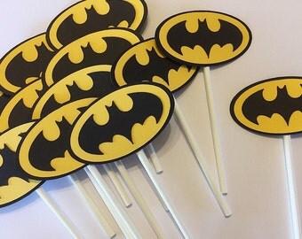 Batman Cupcake Topper --Batman Party Decor -- Batman Dessert Table -- Set of 12