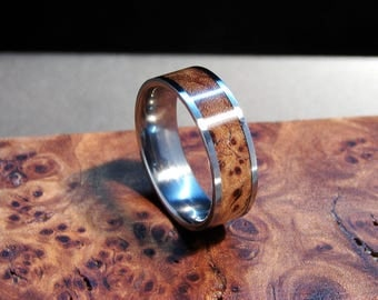Elm Burl and Titanium wood inlay ring, Burl wood ring with titanium band, Titanium and burl ring, wedding band, exotic hardwood, Elm wood