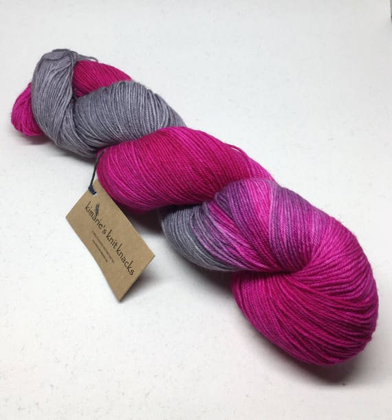 Hand Dyed Sock Yarn_Pink Cadillac_Brazos Fingering Base