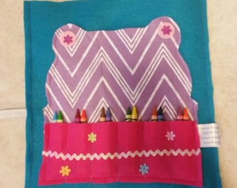Crayon Organizer Coloring Book Holder Tote Christmas Gift Idea Roll