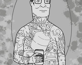 """Neotraditional Tattooed Hank Hill King of the Hill Print by Kevin Thrun - Gilcee - 5""""x7"""" - Epson Cold Press Paper"""