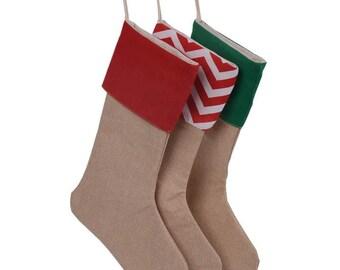 Burlap Stocking - Blank Burlap Stocking With Accent Color, Burlap & Chevron Stocking, Christmas Stocking, Monogrammed Stocking, Christmas
