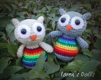 Rainbow Owls Crochet Toys Rainbow Crochet Owl Rainbow toys Crochet Amigurumi Rainbow bird Little Owl Plush Owl Amigurumi Owl MADE TO ORDER