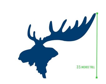 moose antler decal, moose, antlers, outdoors, mountains