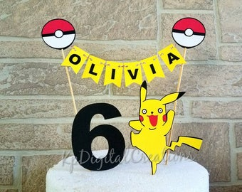 Pokemon cake topper, Pokemon birthday, Pokemon go, Pokémon party, Pokémon birthday, Pikachu