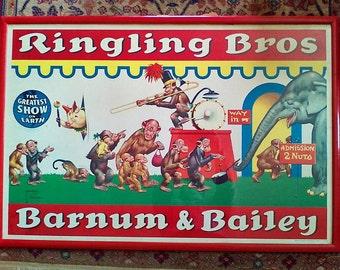 RARE Colorful Original Vintage 1950s Ringling Bros and Barnum Bailey Circus Poster