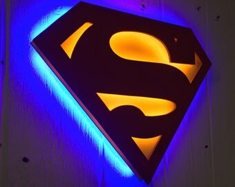 DC Comics Justice League Superman Comic Book Superhero Illuminated Neon Glowing LED Logo Wall Art for Mancave or anywhere else!