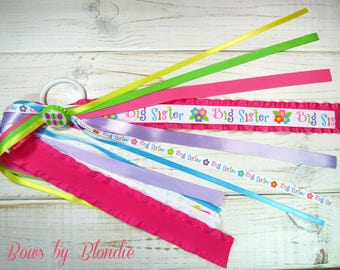 Custom made Big Sister bottle cap Double ruffle ponytail streamer!