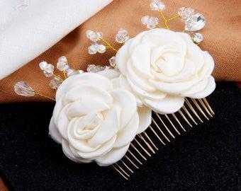 Bridal Headpiece, Flower Hair Comb, Bridal Hair Clip, Wedding Headpiece, Bridal Hair Comb, Ivory Bridal Headpiece, Wedding Hair Accessories