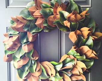 "Christmas Magnolia Wreath 24"" 20"" 16"" Artificial Everyday Fixer Upper Rustic Farmhouse Country Southern Charm Door Decor"