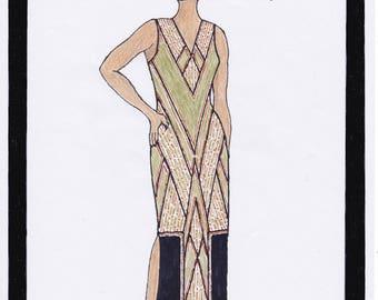 1930s Dress Pattern Art Deco Dress Annouk - PDF Sewing Pattern Size US18/UK22/DE48