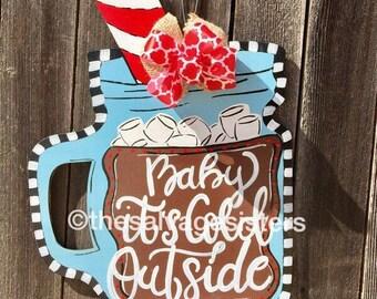 Christmas Door Hanger, Hot Chocolate Mason Jar, Christmas Door Hanger, Hot Coco, Welcome Door Hanger, Mason Jar Decor, Christmas, Winter