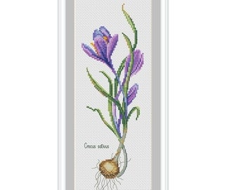 Crocus, spring, flowers, floral cross stitch, cross stitch pattern, PDF, modern cross stitch, instant download
