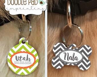 Chevron Pet ID Tag, Custom Dog Collar Tag