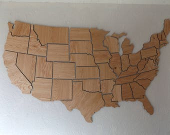 Wooden Usa Map Etsy - Us map puzzle wood