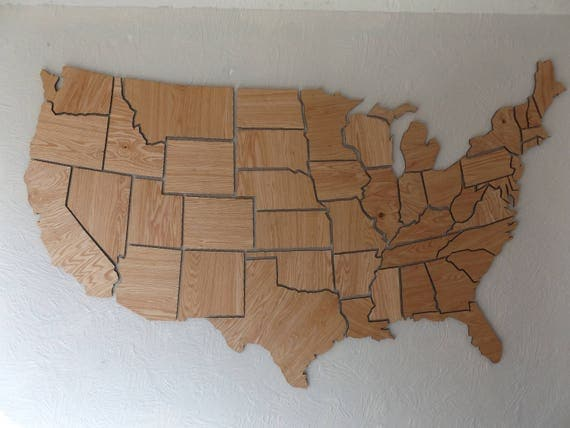 USA State Map State Wood Cut Out Individual Wooden States - Wood us map