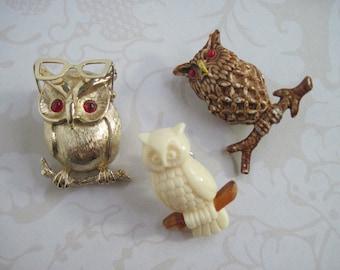 Owl Brooch, Owl Pin, Owl Brooch Lot, Vintage Brooches, Figural Brooches, Figural Pins, Sarah Coventry, Lot of 3