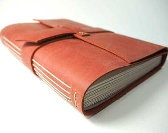 Leather Long-Stitch Journal (8 x 12 in). Perfect as a Sketchbook, Large Notebook, Wedding Planner, or Photo Album.