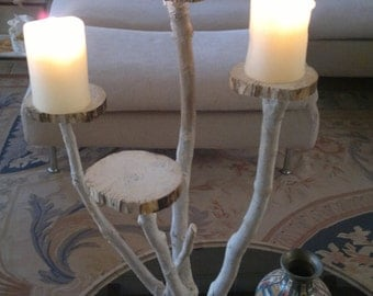 Reclaimed wood candle holders bleached style shabby, country furniture, centerpieces, unique 4 saucers branch candle holder