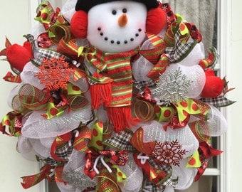 Winter Wreath - Snowman Wreath - White Deco Mesh Snowman Wreath - Christmas Wreath