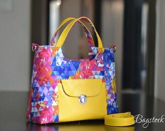 Alison Glass Exlibris, Yellow FAUX leather purse, Bagstock Rose handbag, Handmade handbags, Spring gift women, Vegan purse