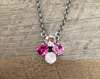 Swarovski Four 4 Stone Bubblegum Pink Tone 8mm Necklace