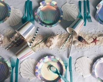 Mermaid party tableware, Mermaid theme, Little Mermaid, under the sea, Shell napkins, Shell plates, cups, straws, Holographic, Meri Meri,
