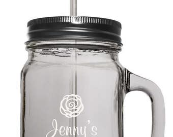 Personalized Mason Jar with lid, straw and handle
