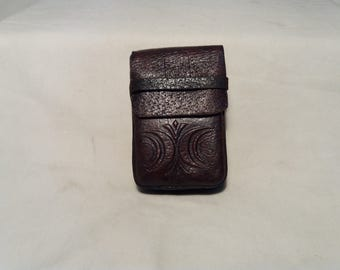 Vintage Handmade Dark Brown Leather Cigarette Case
