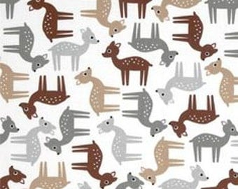 Woodlands Cotton Quilt Fabric Robert Kaufman Deer Neutral  By the Yard