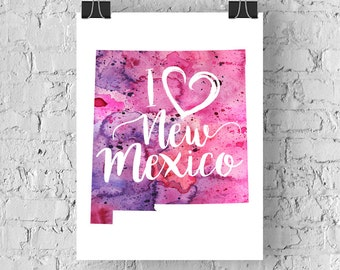 I Heart New Mexico Map Art Print, I Love New Mexico Watercolor Home Decor Map Painting, NM Giclee State Art, Housewarming Gift, Moving Gift