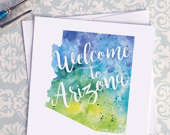 Arizona Watercolor Map Greeting Card, Welcome to Arizona Hand Lettered Text, Gift or Postcard, Giclée Print, Map Art, Choose from 5 Colors