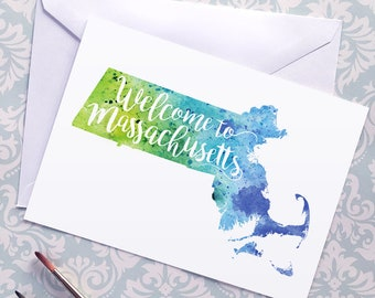 Massachusetts Watercolor Map Greeting Card, Welcome to Massachusetts Hand Lettered Text, Gift or Postcard, Giclée Print, Map Art, 5 Colors