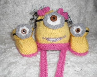 Baby Minions inspired hand knit set