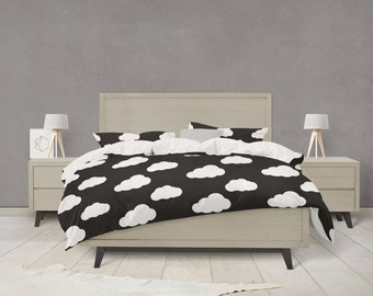 Black and white clouds duvet cover