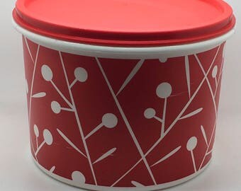 """Tupperware Red White Canister Topper Easy Tap Lid Lift Did Limited Edition Design Hostess Gift Mold """" 5544 5402 1.7 L"""