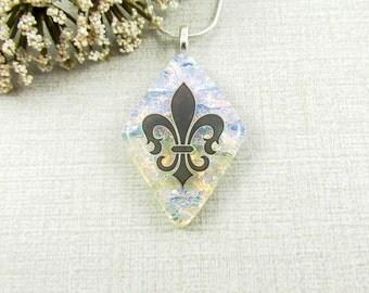 Fused Dichroic Fleur-de-lis Pendant - Glass French Lily Necklace - Diamond Dichroic Glass Pendant - Fleur-De-Lys Jewelry