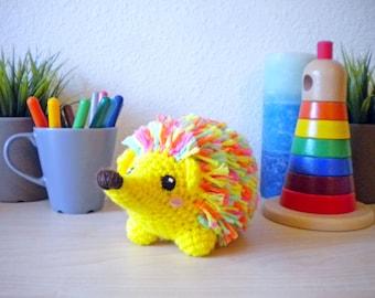 Crochet Neon Rainbow Hedgehog Stuffed Animal